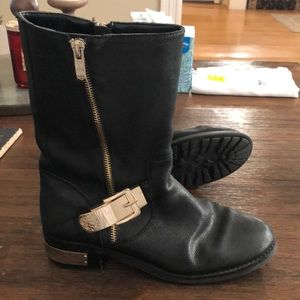 Vince Camuto black leather moto boots